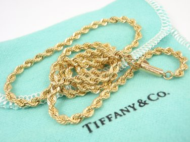"""Mint! Rare Vintage Tiffany & Co 14K Yellow Gold Rope Chain Necklace 18"""" w/pouch"""