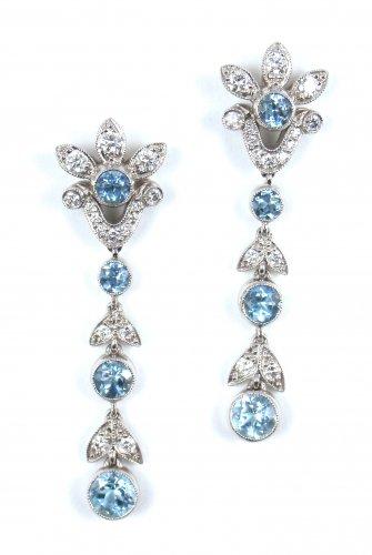 Rare Vintage Tiffany & Co Garland Platinum PT950 Aquamarine Diamond Drop Dangle Earrings