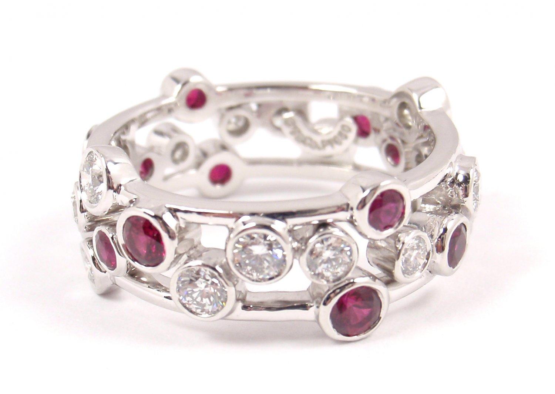 b9bb661eb Tiffany & Co Bubbles Platinum Diamond Ruby Band Ring Size 7.5 with box