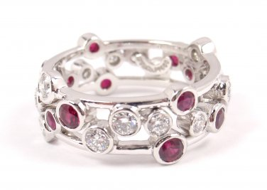 Tiffany & Co Bubbles Platinum Diamond Ruby Band Ring Size 7.5 with box