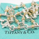 """RARE Vintage Tiffany & Co Sterling Silver 18K Gold Bar Link Necklace 16.5"""" ITALY with pouch"""