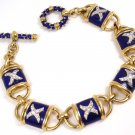"Rare Hidalgo 18K Yellow Gold Blue Enamel X Diamond Toggle Bracelet 7"" 48.4g"