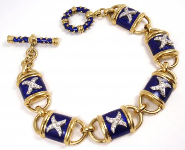 "Rare Hidalgo 18K Yellow Gold Blue Enamel X Diamond Toggle Bracelet 7"" 48.4g"