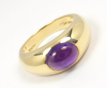 Rare Vintage Tiffany & Co 18K Gold Cabochon Amethyst Ring ITALY Size 6-3/4 w/box