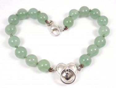 "Rare Vintage Tiffany & Co Sterling Silver Aventurine Bead Ball Heart Bracelet 8"""