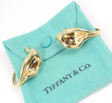 Rare Vintage Tiffany & Co Peretti 18K Yellow Gold Calla Lily Flower Cuff Earrings