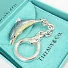 Rare Vintage Tiffany & Co Sterling Silver Enamel Dolphin Key Ring Keychain Italy w/box