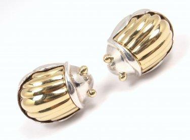 Rare Vintage 1993 Tiffany & Co Sterling Silver 18K Gold Scarab Earrings w/box