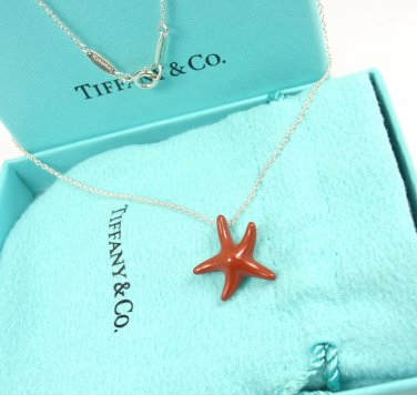 Rare Tiffany & Co Peretti Sterling Silver Red Jasper Starfish Chain Necklace w/box