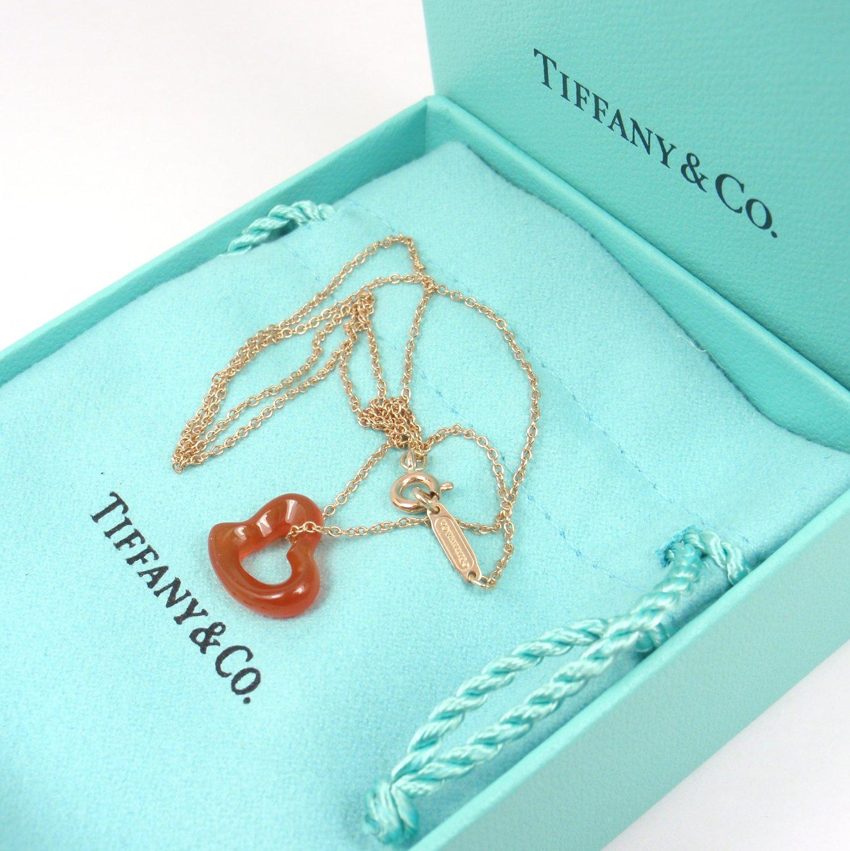 """Rare Tiffany & Co Peretti Carved Carnelian Open Heart 18K Gold Chain Necklace 16"""" w/box"""