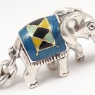 Rare Vintage Tiffany &Co Sterling Silver Enamel Lucky Elephant Keyring Keychain ITALY w/box
