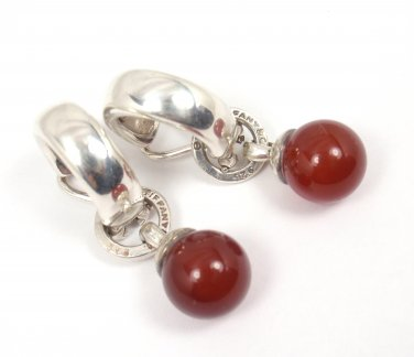 Rare Vintage Tiffany & Co Sterling Silver Carnelian Fascination Clip-On Earrings