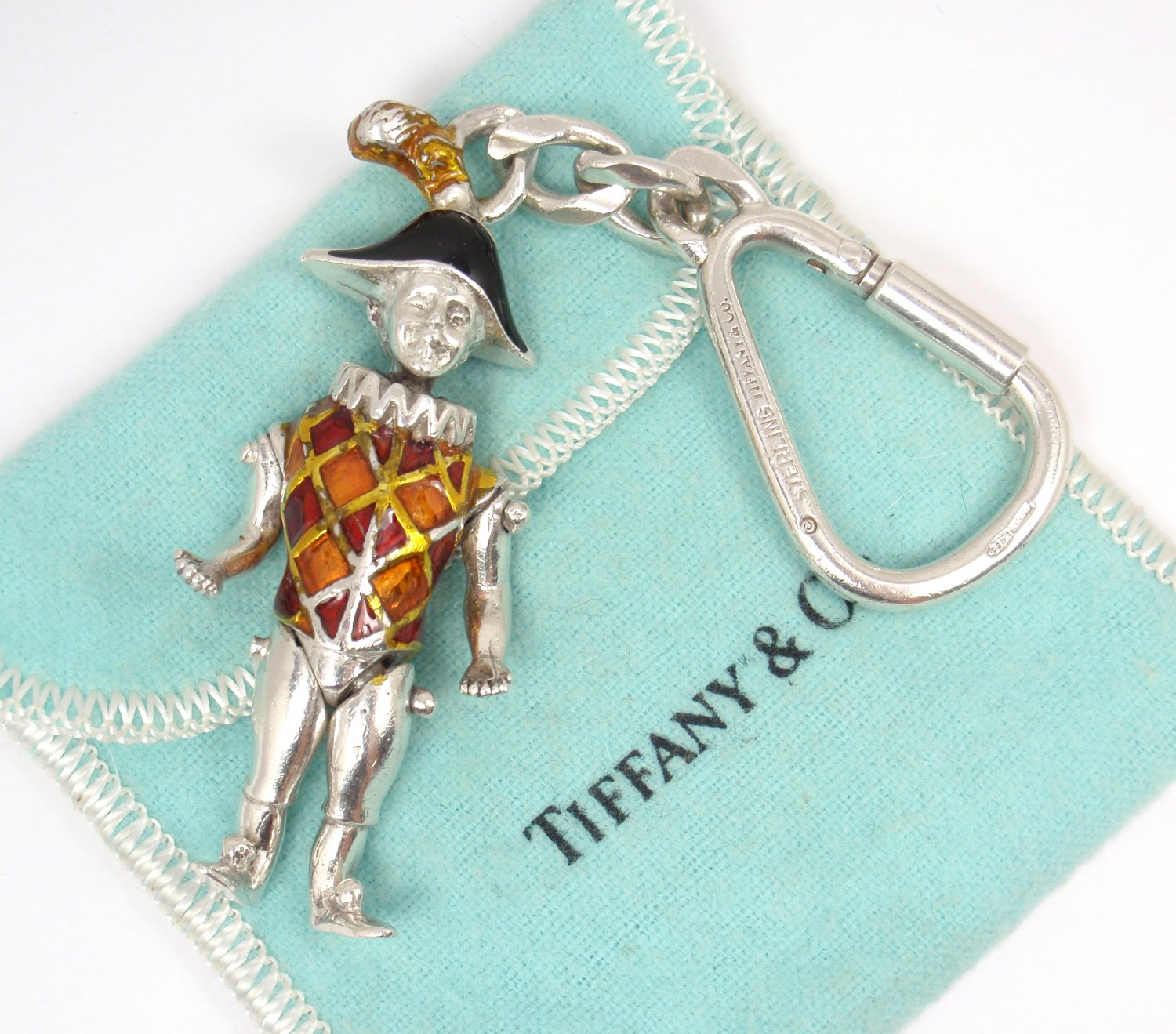 c9626e8f436 Tiffany & Co Gene Moore Sterling Silver Enamel Harlequin Keyring Keychain  ITALY