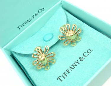 Rare Vintage Tiffany & Co Picasso 18K Gold LARGE Daisy Flower Earrings w/box