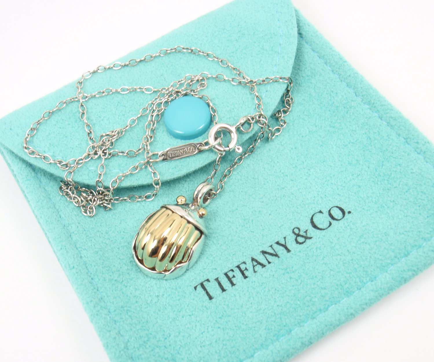 Rare Vintage 1993 Tiffany & Co Sterling Silver 18K Gold Scarab Pendant Necklace w/pouch
