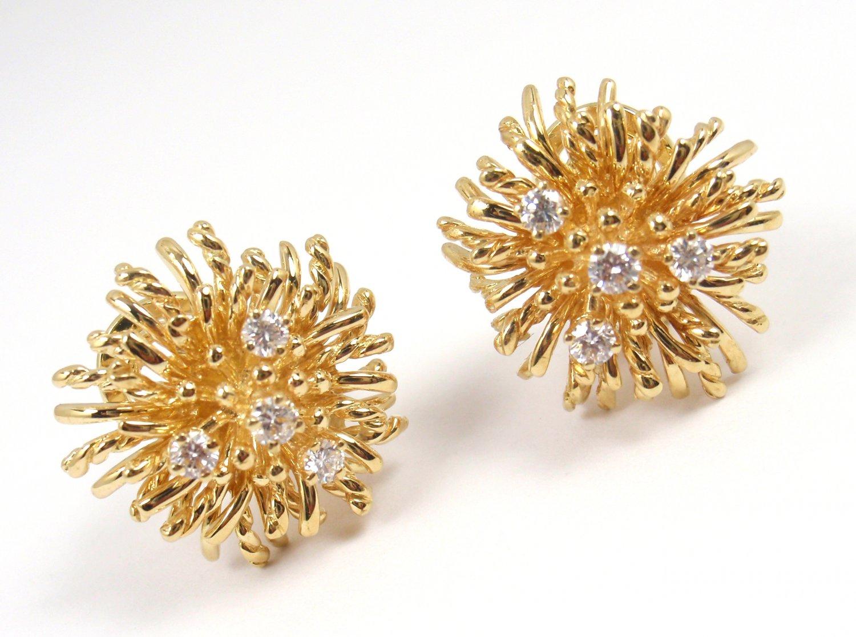 Rare Vintage Tiffany & Co 18K Yellow Gold Diamond Anemone Earrings w/box