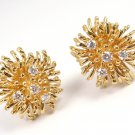 Rare Vintage Tiffany & Co 18K Yellow Gold Diamond Anemone Earrings w/box