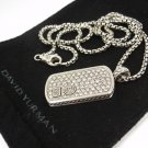 David Yurman Sterling Silver LARGE 2.50ct White Diamonds Pave Dog Tag Necklace