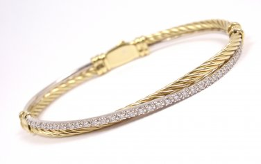 David Yurman Solid 18K Gold Diamond Cable Crossover Bracelet 6.5""