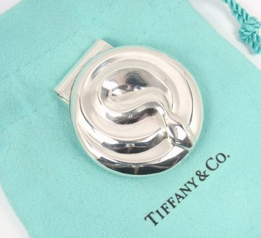 Rare Vintage c1960s Tiffany & Co Makers Sterling Silver 925 Snake Money Clip w/pouch