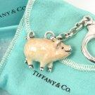 RARE Vintage Tiffany & Co Sterling Silver Enamel Pig Keyring Keychain ITALY w/box