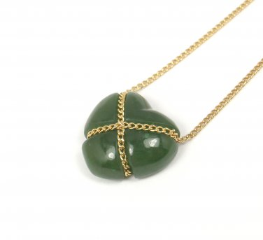 "Rare Vintage Tiffany & Co 18K Yellow Gold Green Jade Heart Necklace 18.5"" w/pouch"