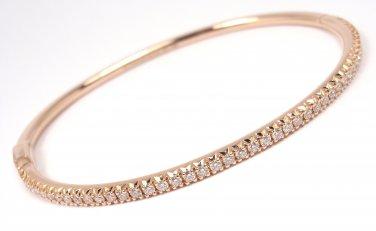 """$6700 Tiffany & Co 18K Rose Gold Metro Diamond Hinged Bangle Bracelet 7"""""""