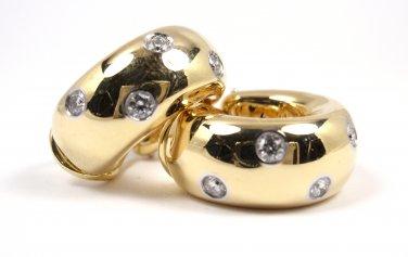 Rare Vintage Tiffany & Co Etoile 18K Gold Platinum Diamond Wide Hoop Earrings for Non-Pierced Ears