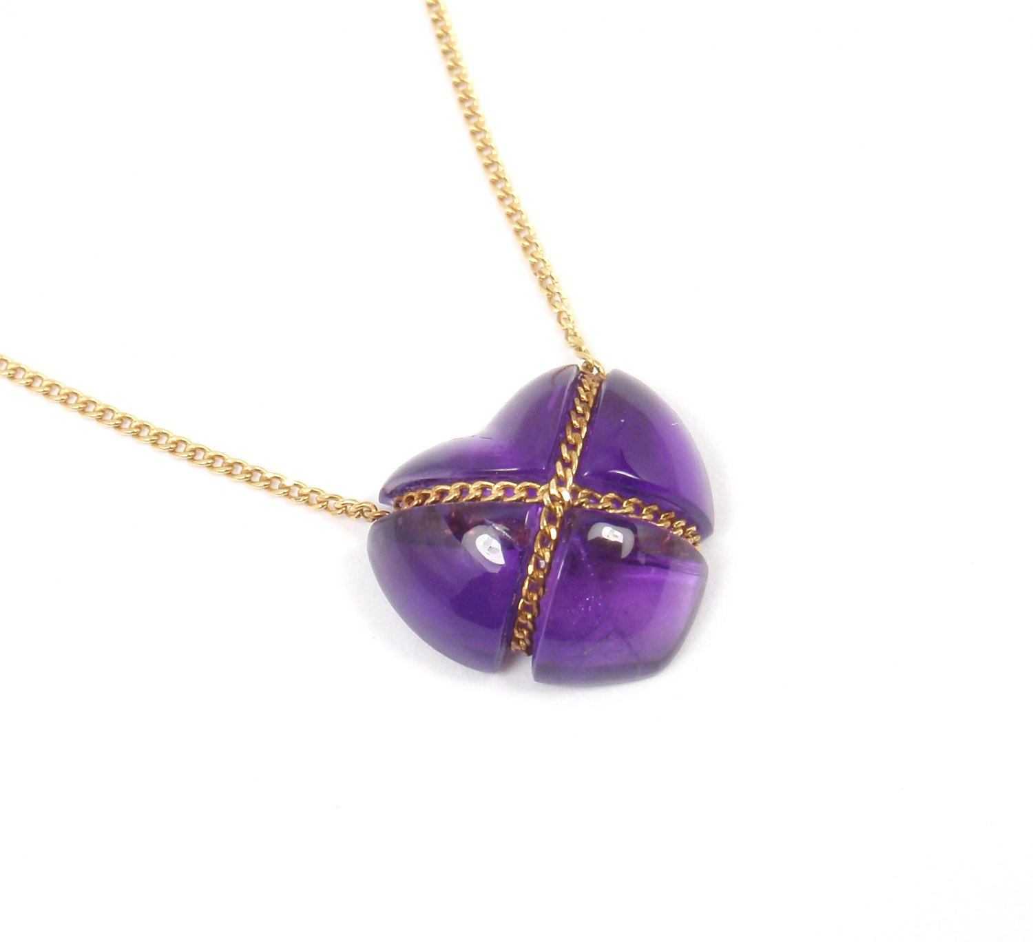 Rare Vintage Tiffany & Co 18K Yellow Gold Amethyst Purple Heart Necklace w/pouch