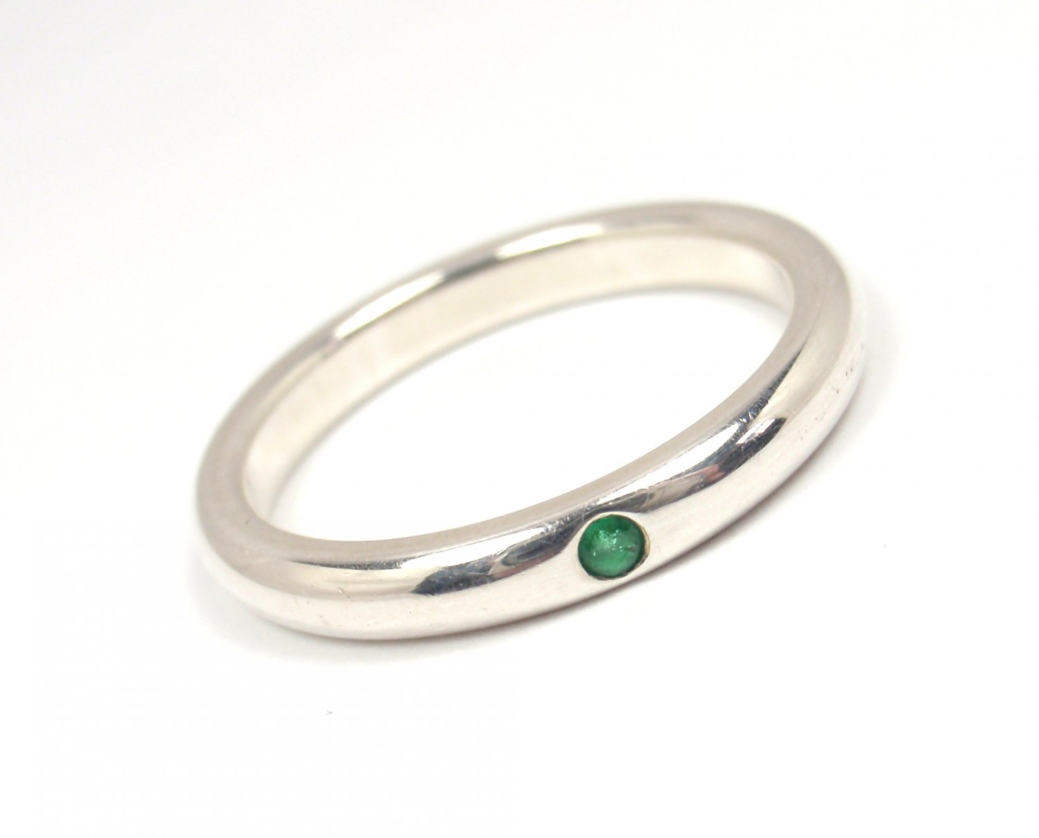 Tiffany & Co Peretti Sterling Silver Emerald Stacking Band Ring Size 5