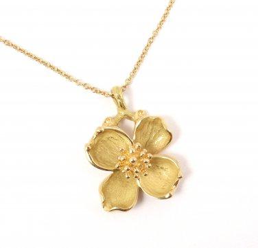 "Rare Vintage Tiffany & Co 18K Gold Dogwood Flower Pendant Chain Necklace 16"" w/box"