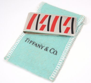 Rare Vintage Tiffany & Co. Enamel Sterling Silver Money Clip w/pouch