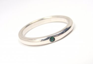 Tiffany & Co Peretti Sterling Silver Emerald Stacking Band Ring Size 7