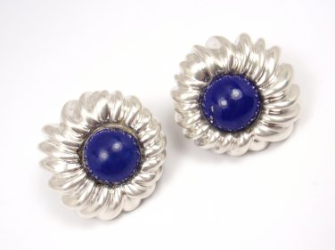 Rare Vintage Tiffany & Co Sterling Silver Lapis Lazuli Clip On Earrings