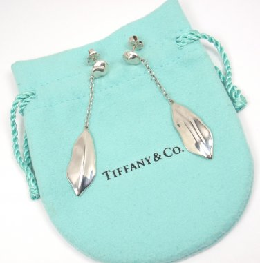 Rare Vintage Tiffany & Co Sterling Silver Nature Leaf Drop Dangle Earrings w/pouch