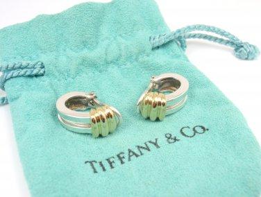 Rare Vintage 1995 Tiffany & Co Sterling Silver 18K Gold Atlas Huggie Earrings w/pouch