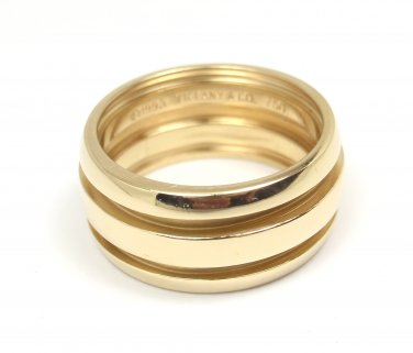 RARE Vintage Tiffany & Co Atlas Groove 18K Gold Wide Wedding Band Ring Size 6