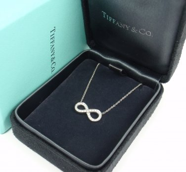 Tiffany & Co Platinum 950 Infinity 0.10ct Diamond Pendant Necklace w/box
