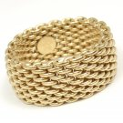 $2200 Tiffany & Co 18K Yellow Gold Somerset WIDE Mesh Band Ring Size 10