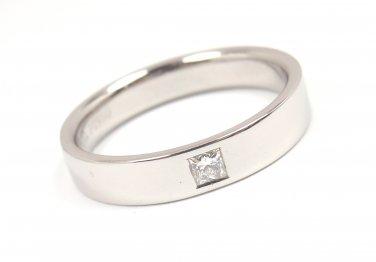 Tiffany & Co Mens 4mm Platinum Diamond Wedding Band Ring Size 8