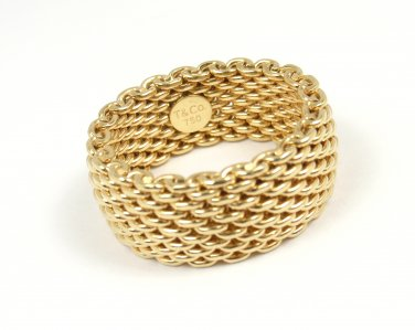 Tiffany & Co 18K Yellow Gold Somerset WIDE Mesh Band Ring Size 8.5