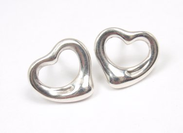 Tiffany & Co Elsa Peretti Sterling Silver Open Heart Stud Earrings SPAIN