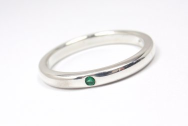 Tiffany & Co Peretti Sterling Silver Emerald Stacking Band Ring Size 8