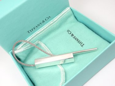 Rare Vintage Tiffany & Co Sterling Silver Hexagon Cable Key Ring Keychain w/box