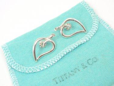 """Rare Vintage 1987 Tiffany & Co Sterling Silver 1"""" Open Heart Leaf Stud Earrings"""