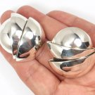 Rare Vintage Tiffany & Co Sterling Silver Huge X-Large Round Clip-On Earrings