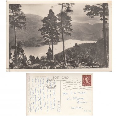 Cumbria. Postcard Ullswater from Glencoin. Photograph Postally Used   . Mauritron #1