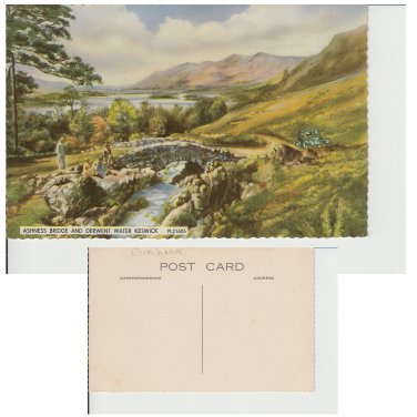 Cumbria. Postcard Cumbria Postcard Ashness Bridge and Derwent Water Keswick. Mauritron #10