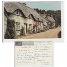 Isle of Wight Postcard Old Thatched Cottages at Brighstone Mauritron Item No. 32