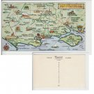 Hampshire   Postcard Map Hampshire Dorset Somerset. Mauritron #155